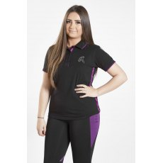 Firefoot Ladies Crofton Polo Top Black Plum