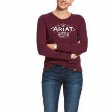 Ariat tile logo long sleeve tee shirt wine