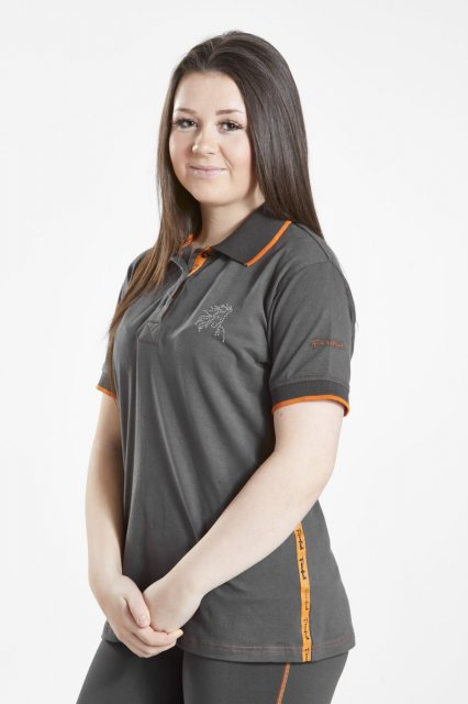 Firefoot Firefoot Ladies Crofton Polo Top Charcoal / Orange